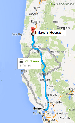 map of the 7 hour drive from Napa, California to Sutherlin, Oregon