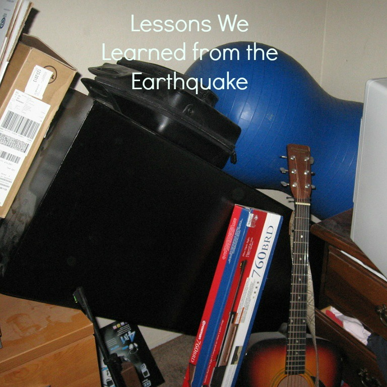 "the author's gun safe, fallen over with the title ""Lessons We Learned from the Earthquake"""