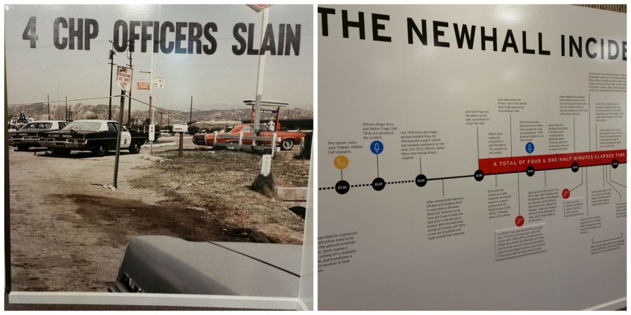 "photo on the left is of multiple police and other cars with the title ""4 CHP OFFICERS SLAIN"". Photo on the right is of a timeline with the title ""The Newhall Incident""."