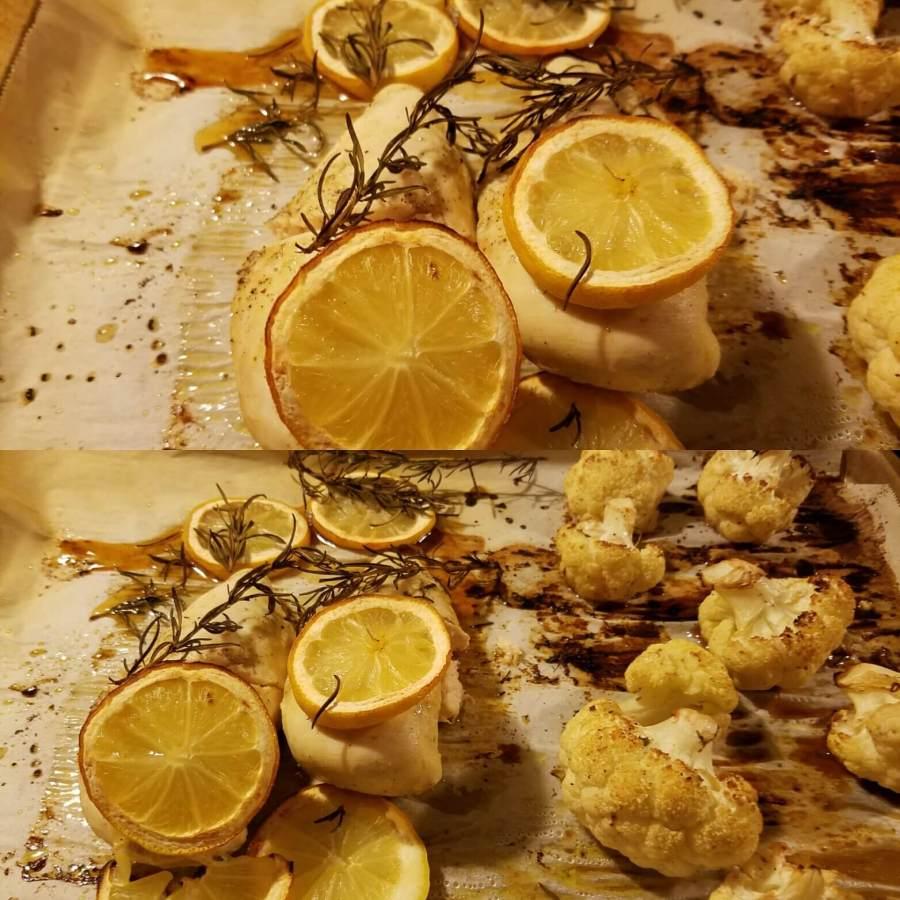 one pan roasted cauliflower lemon rosemary chicken