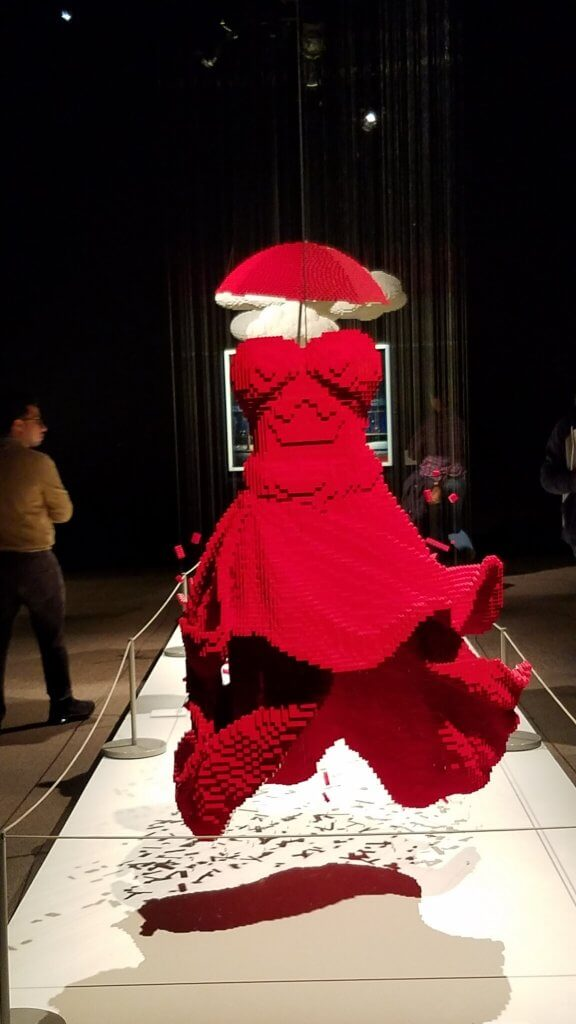 The red Lego dress with a red Lego umbrella