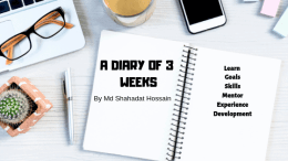 A Diary of 3 Weeks