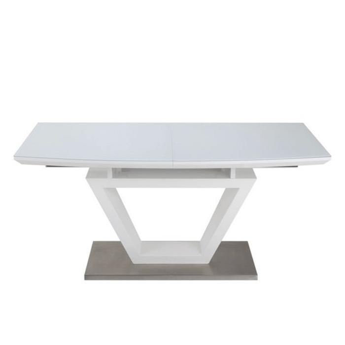 Стол обеденный MARK глянец белый,стекло белоснежное