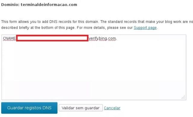 Colocando os dados do Bing no Servidor DNS