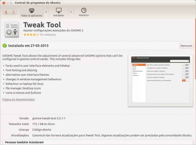 Central de Aplicativos - Gnome Tweak Tool