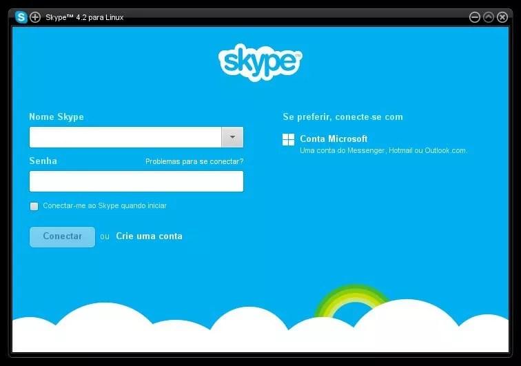 Tela Inicial - Skype 4.2 Linux