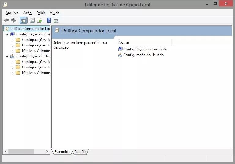 Editor de Políticas de Grupos Locais no Windows 8