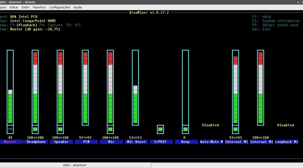Configurando áudio pelo AlsaMixer