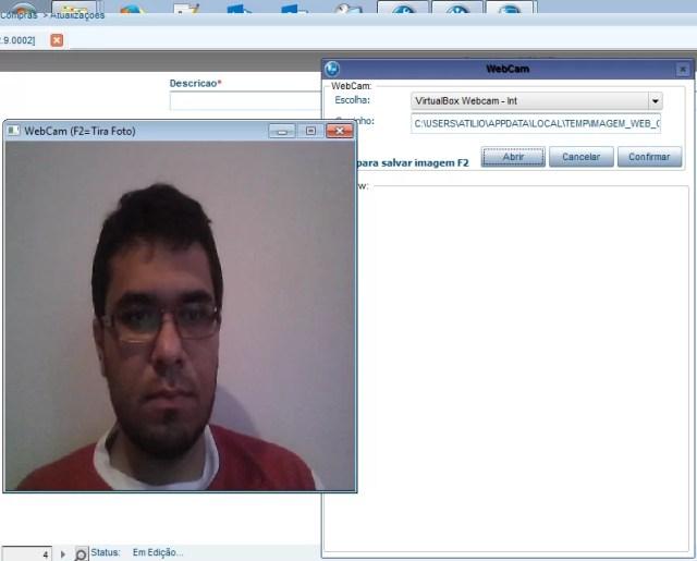 Abrindo a tela da WebCam