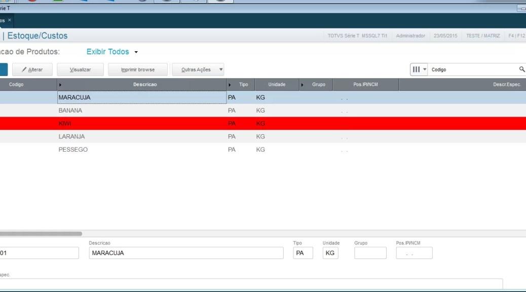 Exemplo de registro bloqueado em vermelho no Protheus