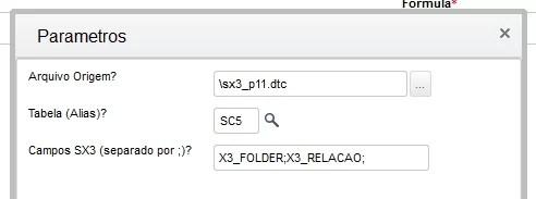 Função que sobrepõe o conteúdo da SX3 através de um dbf / dtc