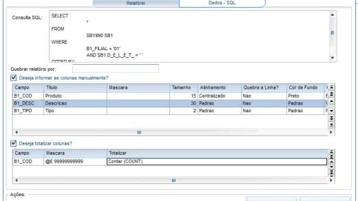Tela de dados, especificando as colunas