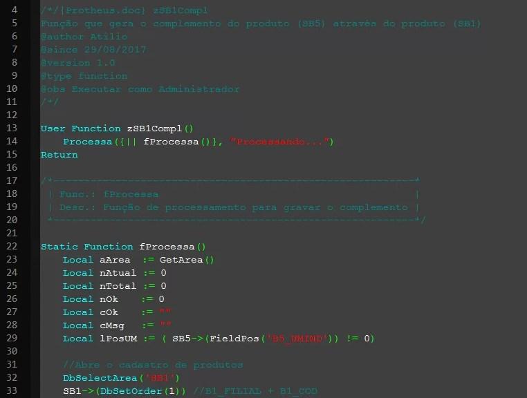 Fonte AdvPL usando um tema escuro no Notepad++
