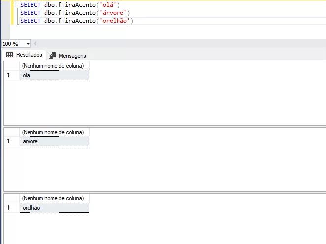 Exemplo de função que retira acento no SQL Server