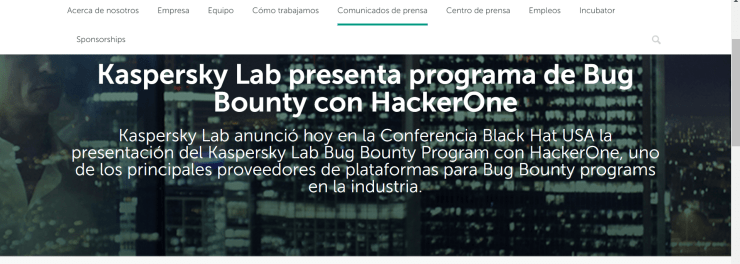 Anuncio bounty program de Kaspersky con HackerOne