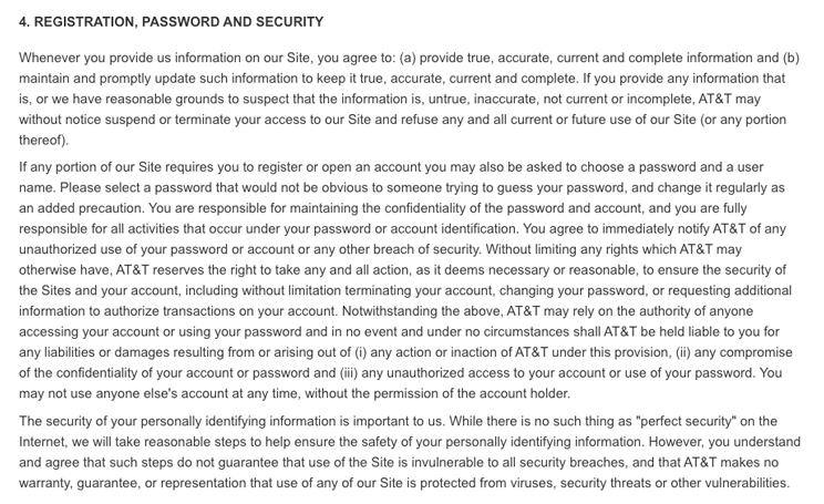 AT&T Terms and Conditions Registration and Security