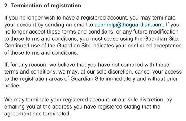 Termination clause in Terms of Service of Guardian