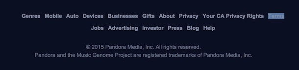 Sample Terms of Use Template   TermsFeed Pandora Website Footer