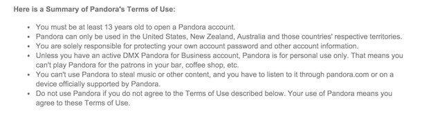 Pandora Terms of Use Summary