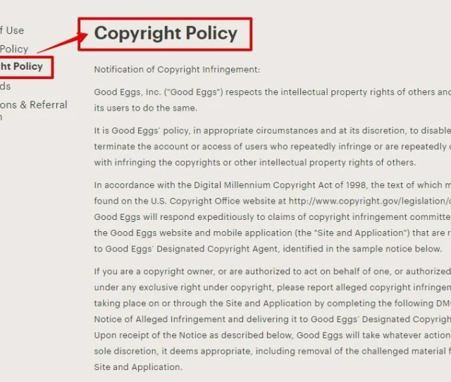 Good Eggs Store Screenshot Of Copyright Policy Page