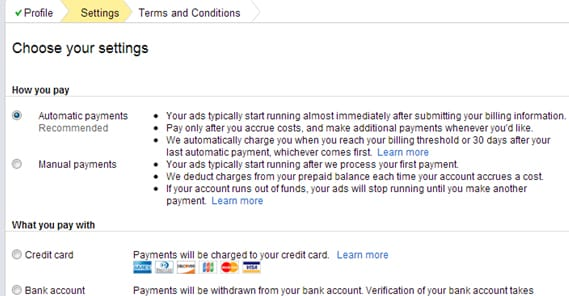 automatic payment and manual payment Adwords
