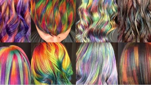 Rambut Pelangi dengan Efek Hologram Memukau