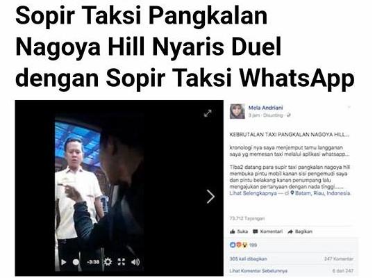 Viral Video Kebrutalan Taxi Pangkalan Nagayo Hill Batam