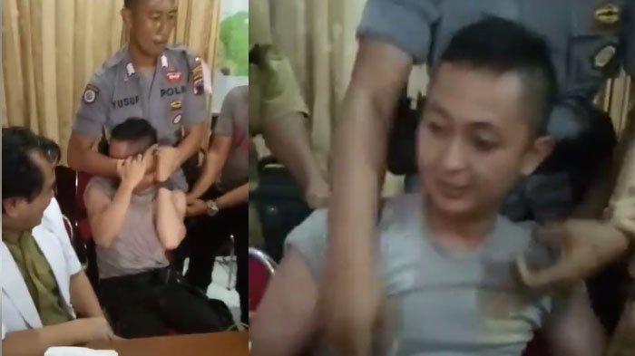 Video Viral Seorang Polisi Badan Kekar dan Berotot Ketakutan Saat Mau Disuntik