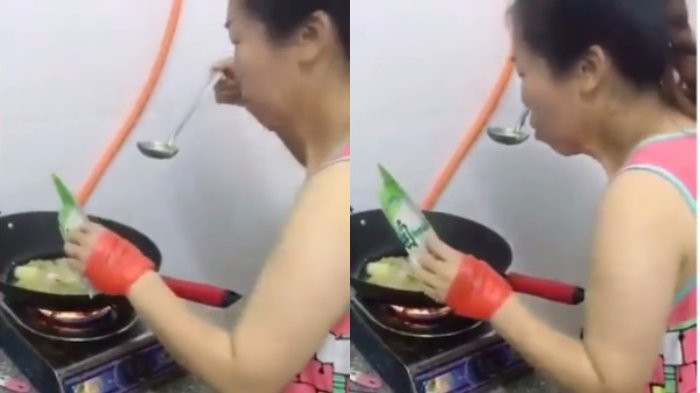 Aksi Ibu Ini Saat Mencicipi Masakannya Bikin Ngakak