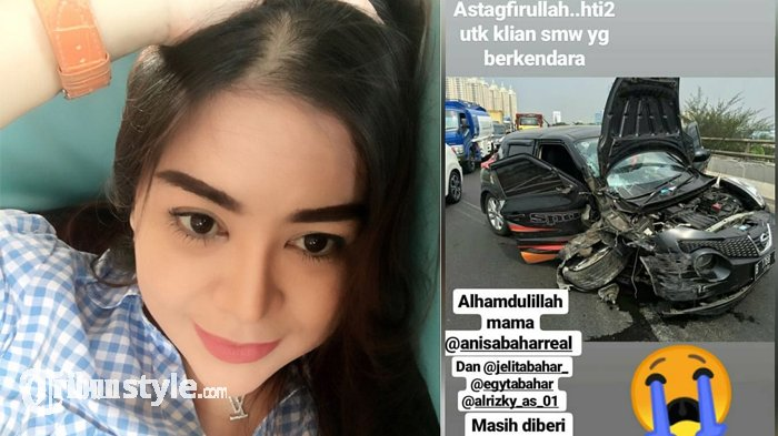 Anisa Bahar dan Anaknya Kecelakaan, Kondisi Mobilnya Mengenaskan