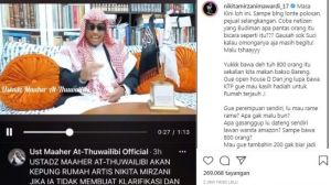 Netizen Geram! Ustadz Maaher Sebut Nikita Mirzani Lonte