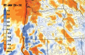 Doubling carbon dioxide in the atmosphere leads to lower average winter precipitation in Northwestern Oregon, according to model results. (map courtesy of Steve Hostetler)