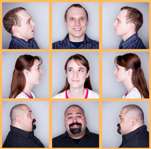 Students run the Beaver Emotional Intelligence Project, a five-year effort to understand the basis for judging personality and behavior. Top, Jordan Clark; middle, Jill Brown; bottom, Joshua Landin. (Photos: Frank Miller)