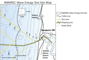 The NNMREC wave energy test site is about three nautical miles off Yaquina Head near Newport, OR.