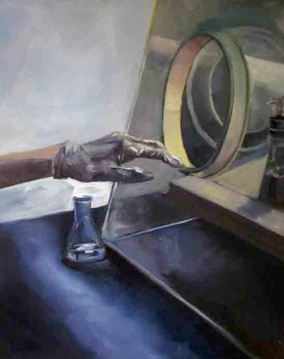 Austin's Agitation Table in the Ecological Engineering Lab, oil on panel, 2014 (Alice Marshall)