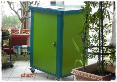 Deckfarben: Apfelgrün und Türkis, als Grundierung Weiß / coating paint: Applegreen and Turquoise, for prime coat White