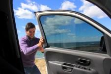 Enfrentando forte ventania próximo à Rio Gallegos.