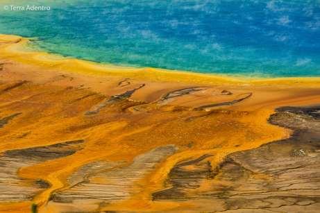As cores do Grand Prismatic Spring deixam a paisagem surreal