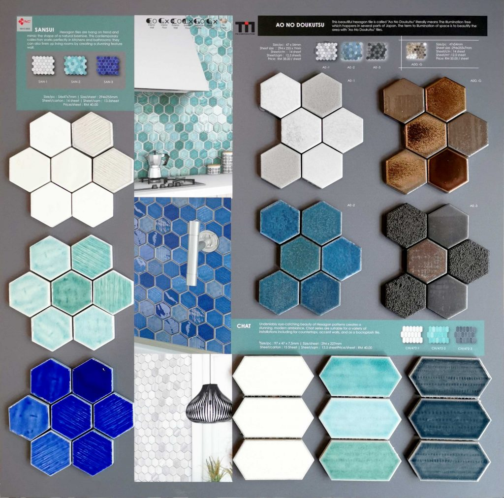 hexagon tiles sample and color chip