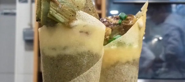 Receta de cucuruchos de mousse de alcachofas