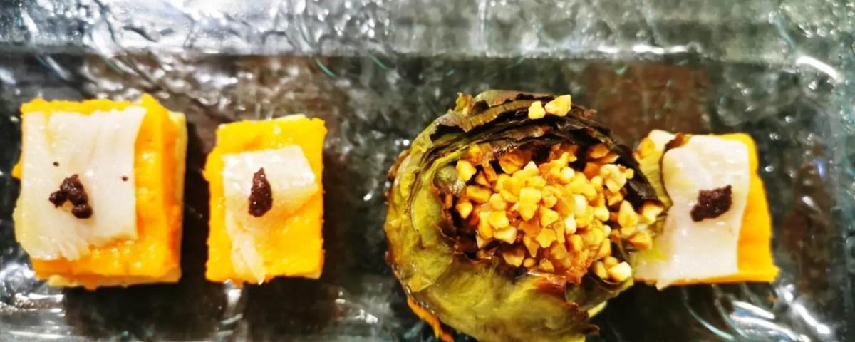 Receta de bombón de calabaza y alcachofas rellenas