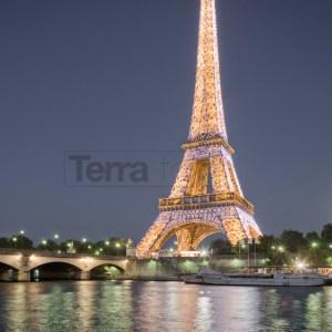France, Paris Eiffel Tower illuminated at night
