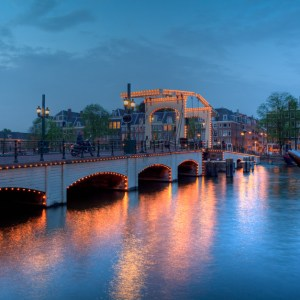 Skinny Bridge over Amstel River, Amsterdam, Netherlands, Europe