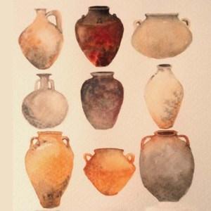 Acuarela y cerámica