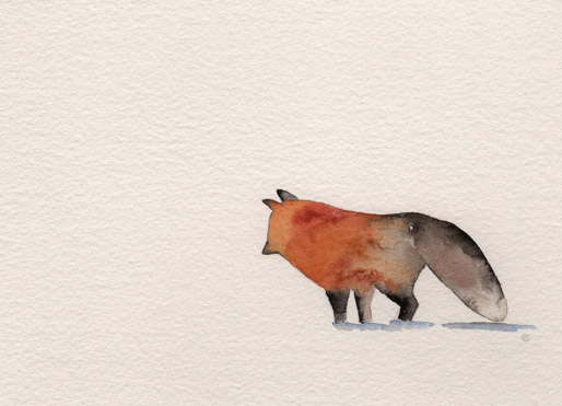 watercolor illustration of a red fox hunting