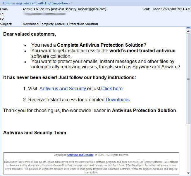 Antivirus and security scam email