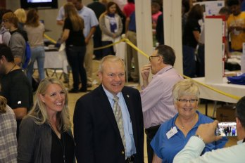 THINK Manufacturing showcase - Peggy Courtney (Convention and Visitors' Bureau), Representative Bill Reineke, Kay E. Reiter (SCEDC)