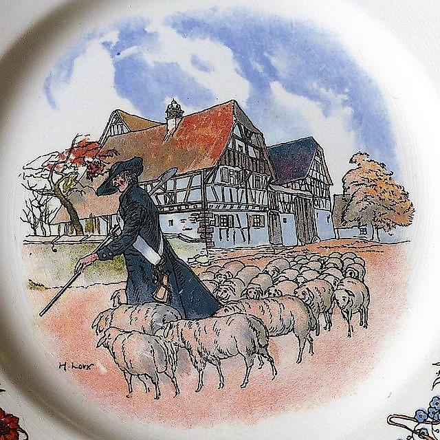Berger et ses moutons - Obernai - Faiencerie de Sarreguemines