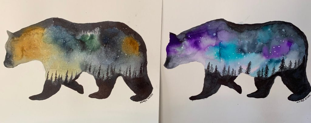 watercolors of walking bear with the night sky
