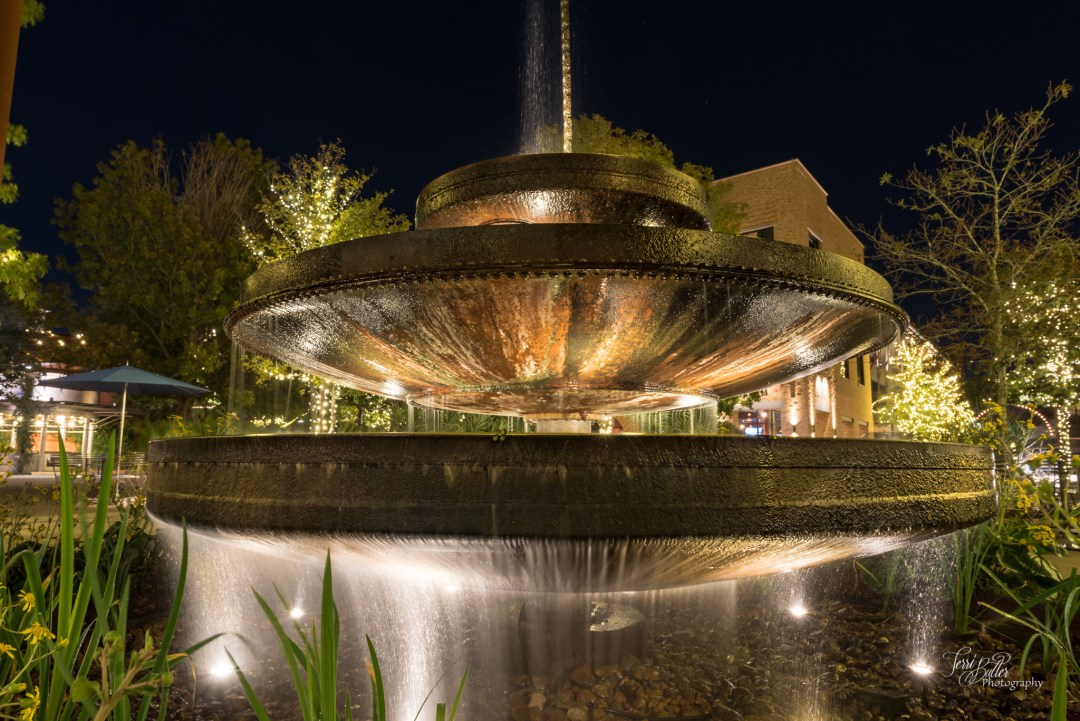 pearl brewery, fountain, night photography, san antonio